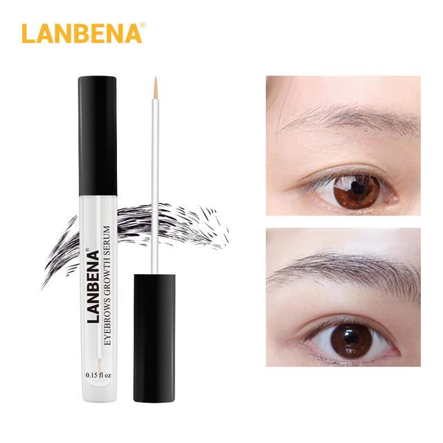 LANBENA Eyebrow Growth Serum Fast Powerful Hair Growth Fuller Longer Thicker Nourishe Eyebrow Enhancer Eyelash Make Up Eye Care