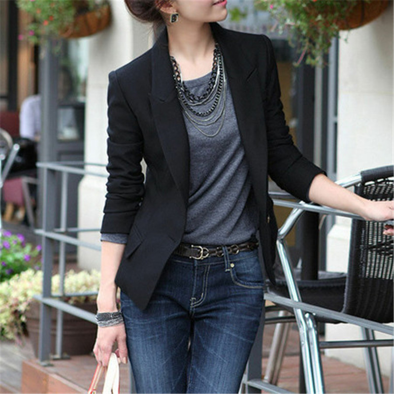 Black Slim Fit Women Formal Jackets Office Work Notched Ladies Blazer Coat Feminino 2019 Newest