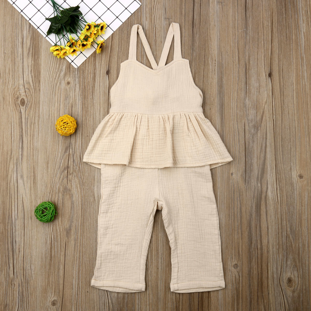 Kids Baby Girls Overalls Sleeveless Backless Romper Toddler Girl Jumpsuit Wide Leg Pants Trousers Girls Summer Clothes in Overalls from Mother Kids