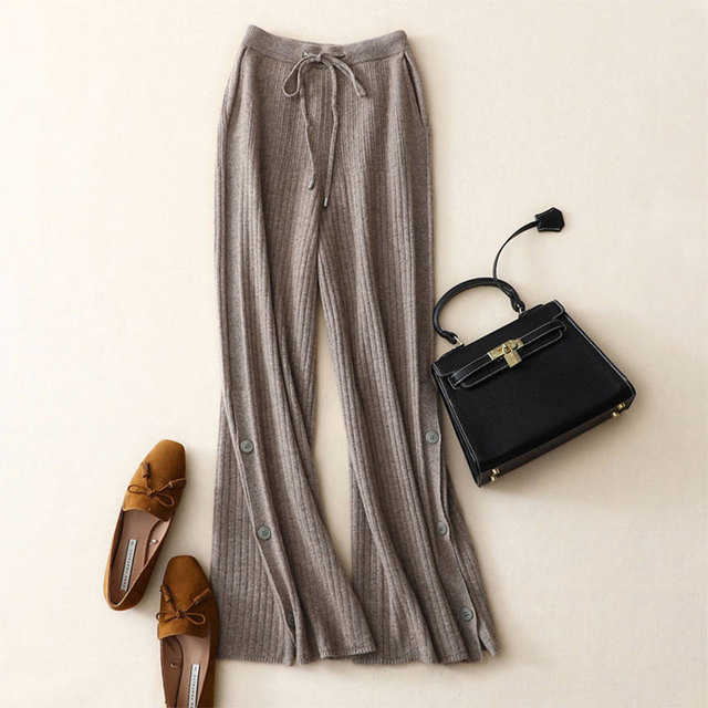 shuchan Winter Trousers Women 100% Cashmere Pants Knitted High Waist Side Buttons Wide Leg Pants Fashion Solid Ladies Pantalones