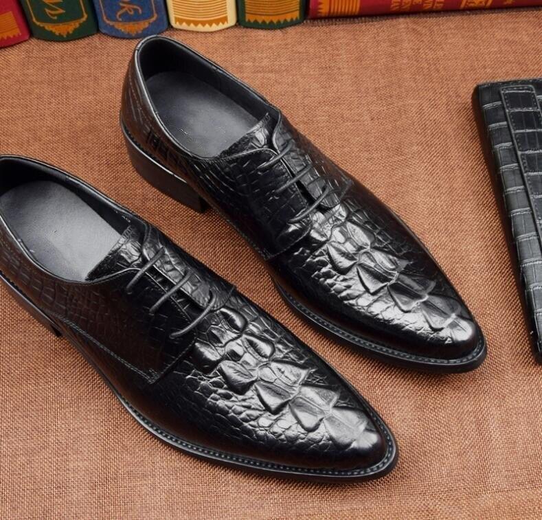 Ferse Spitzen Zehen Männer Niedrigen Smart Zunehmende Muster Echtem Casual Alligator Kleid chocolate Höhe Black Leder Schuhe Up Lace On1wqxB5