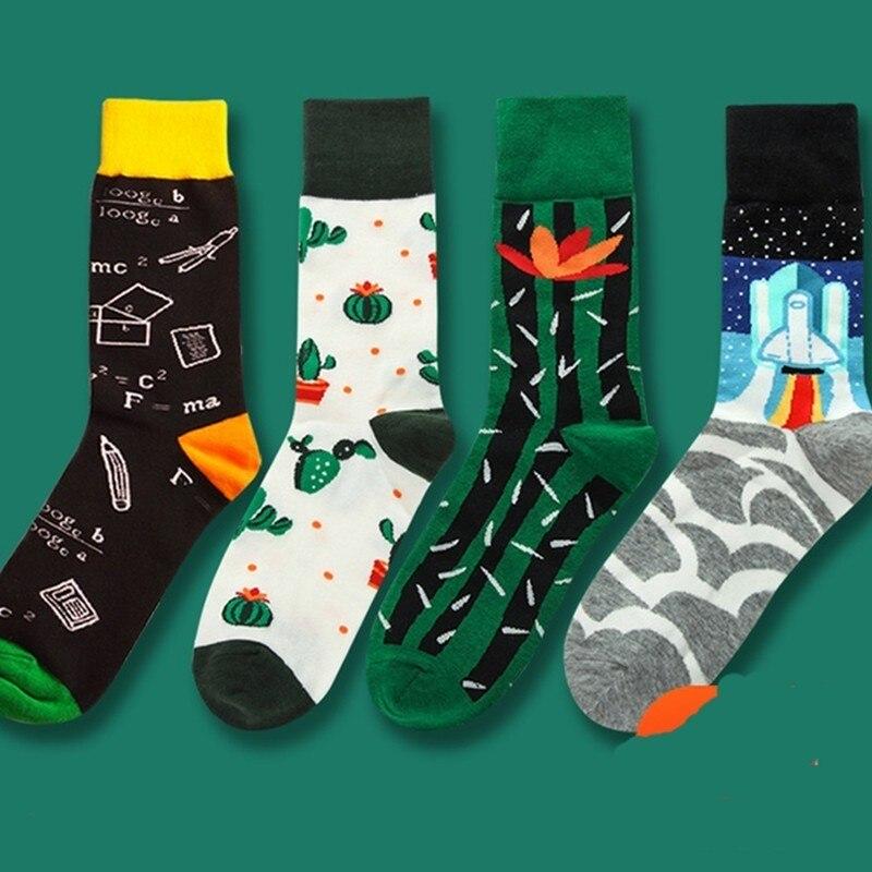 PEONFLY 2019 date men dress color comfortable pair roller skateboard for causal reason funny wedding socks socks geometry