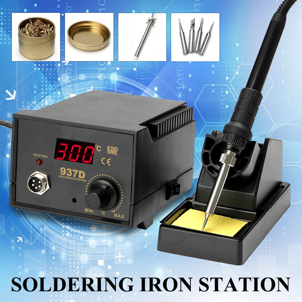 937D 75W Digital Rework Soldering Station Repair Welding Soldering Iron Set with 4 Tips and Cleaner Heating element Tool kit цена