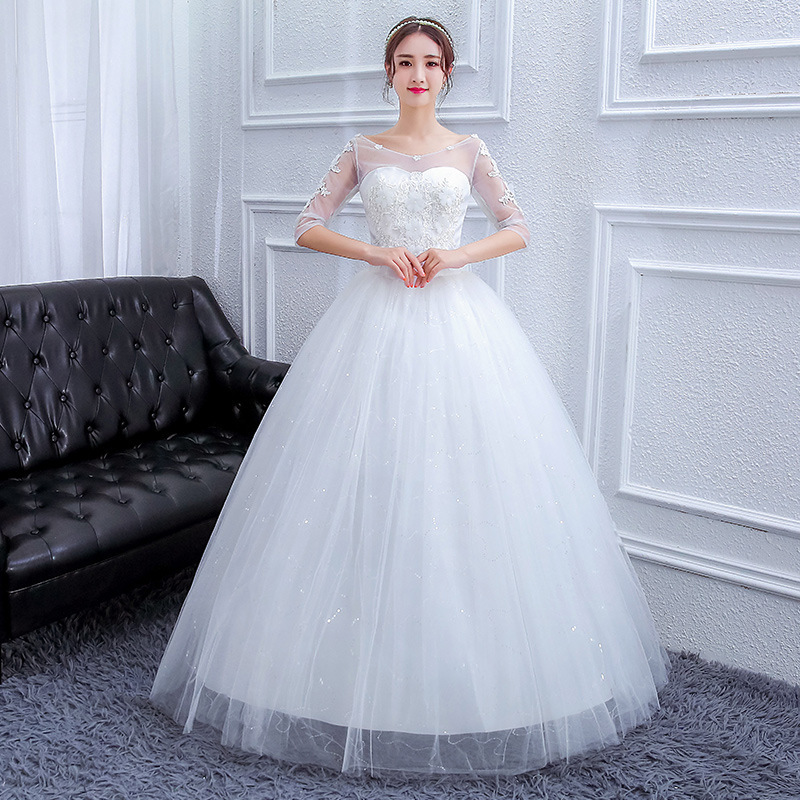 Ball-Gown Wedding-Dresses Lace-Up Appliques Half-Sleeve Princess Turkey O-Neck Back No