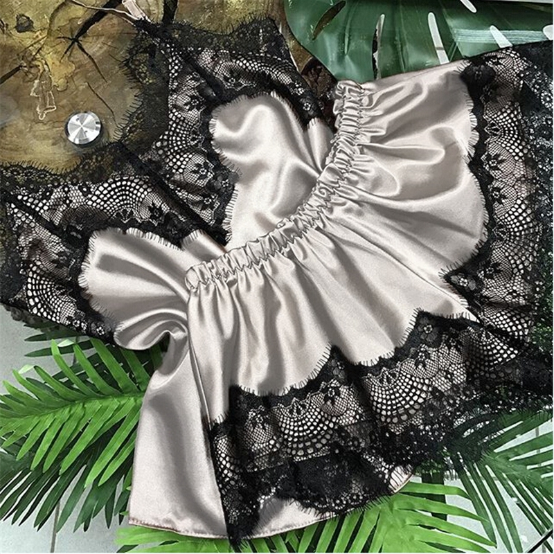 Women Stain Lace V Neck Sleepwear Nightwear Satin Crop Top+Shorts 2Pcs Set Babydoll Lingerie Sexy