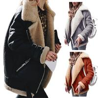 Autumn and Winter Korean Style Loose Large Size Fur Warm Coat Jackets Velvet Cotton Lapel Thick Casual Suede Woman Outerwears