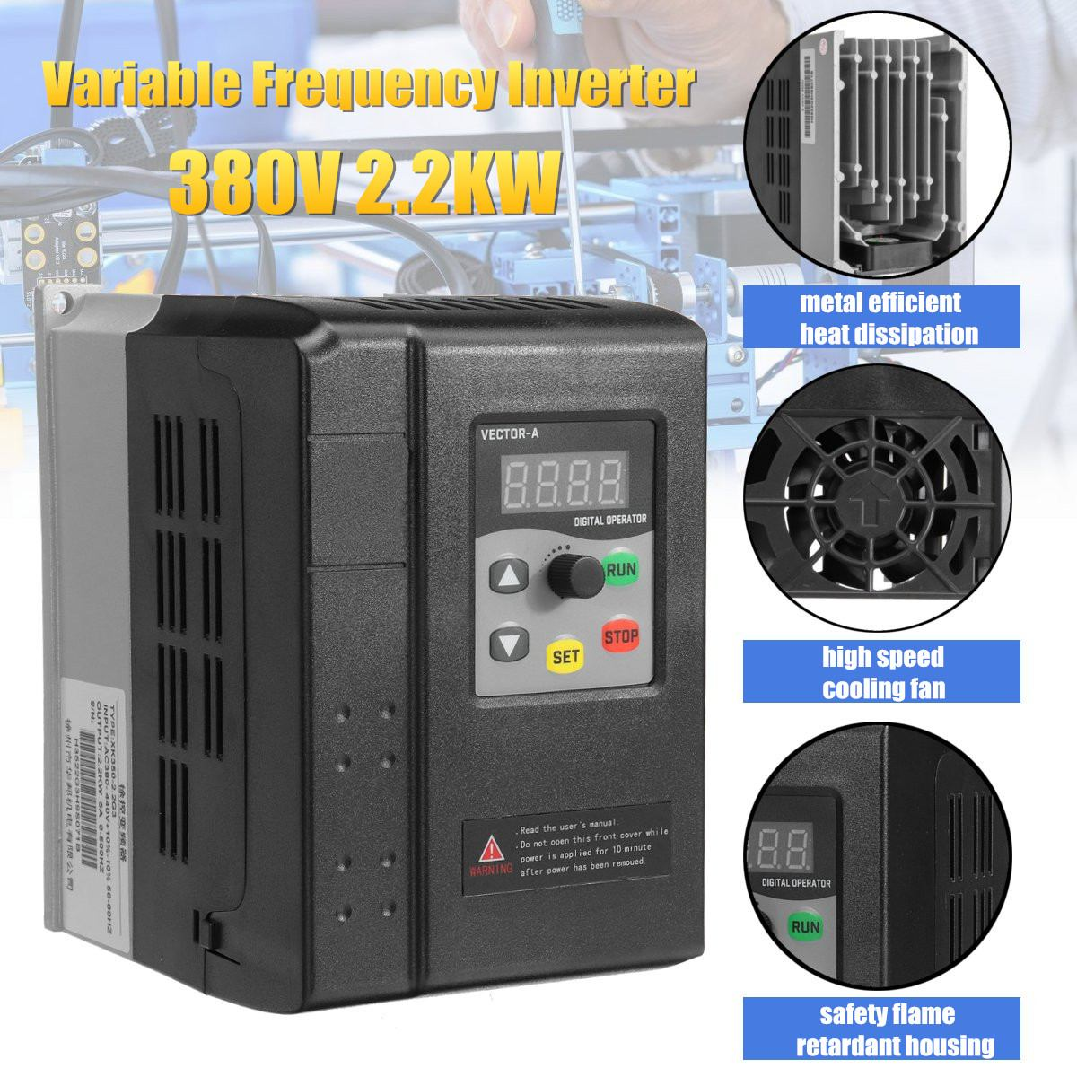 CNC Spindle motor speed control 380V 2.2KW VFD Variable Frequency Drive VFD 3 Phase frequency inverter For Motor NEWCNC Spindle motor speed control 380V 2.2KW VFD Variable Frequency Drive VFD 3 Phase frequency inverter For Motor NEW