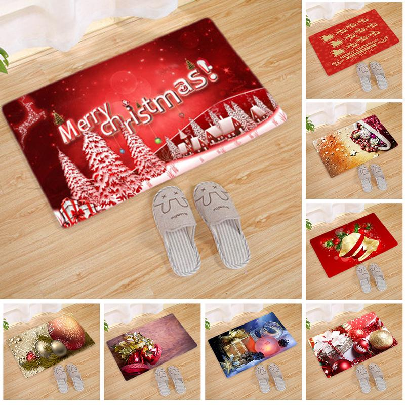 New Year Cartoon Christmas Doormat Anti-Slip Doormat Stair Mats Christmas Decoration For Home Bedroom Rugs