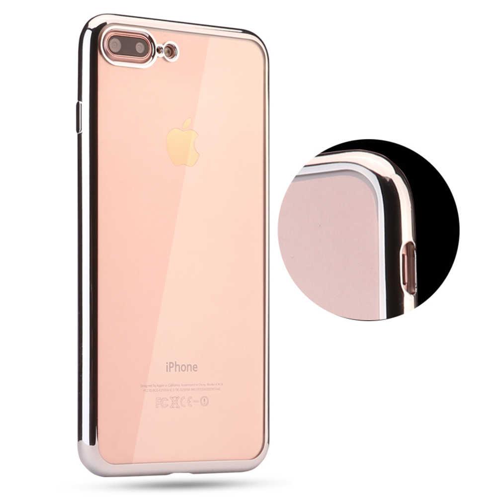 TPU мягкое Кристальное Ультра тонкое прозрачное резиновое гальваническое покрытие чехол для iPhone XS MAX XR 8 6 6S 7Plus X 5 5S SE чехол для телефона