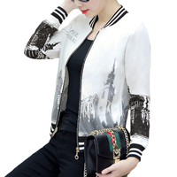 LYFZOUS New Letter Print Bomber Jacket Women Spring Autumn Korean Fashion Long sleeved Ladies Slim Short Basic Jackets for woman