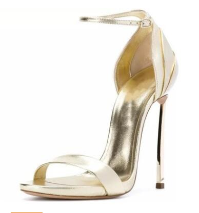 Elegant Women Golid Silver Open Toe Sandals Summer Fashion Hollow Out Ankle Buckle Wrap High Thin Metal Heel Dress ShoesElegant Women Golid Silver Open Toe Sandals Summer Fashion Hollow Out Ankle Buckle Wrap High Thin Metal Heel Dress Shoes