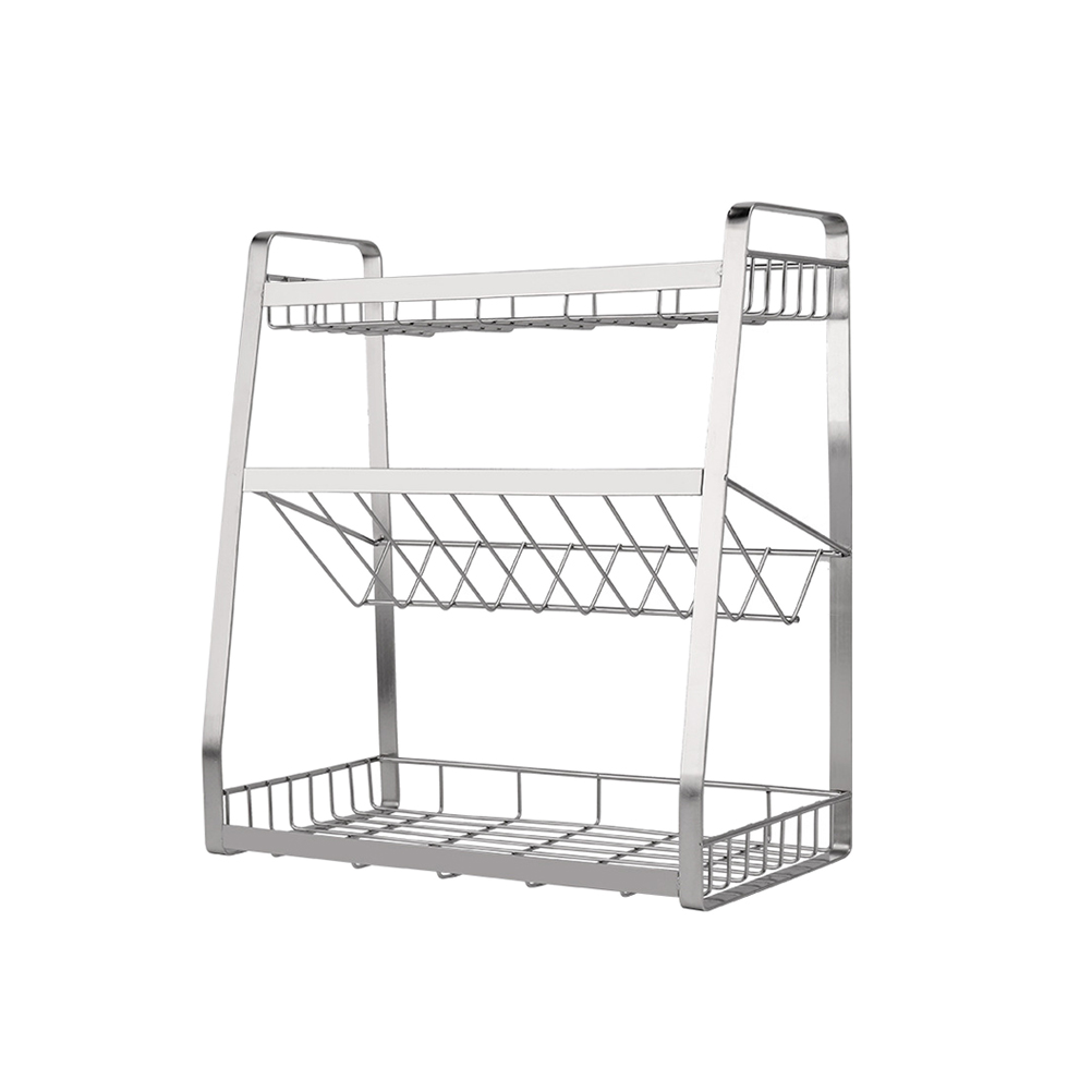 Stainless Steel Storage Stand Shelf Multi functional Condiment Organizer for Kitchen