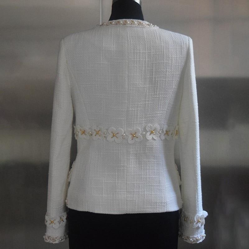 Automne Femme Manches Perles Taille Q941 Pour Femelle À Plus White Manteau Vêtements Laine La Patchwork Femmes Longues Coat Mode 2018 Vestes qzOw7w16