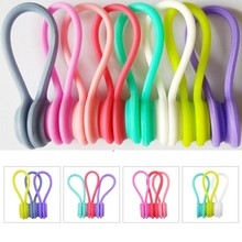 3pcs Cable Organizer Soft Silicone Magnetic Winder Cord Earphone Storage Holder Clips For Data
