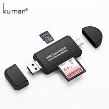 Kuman 2,0 OTG кард-ридер USB MicroUSB TypeC интерфейс с Micro SD TF SD слот для карт памяти Y209 флэш-карт памяти для телефона