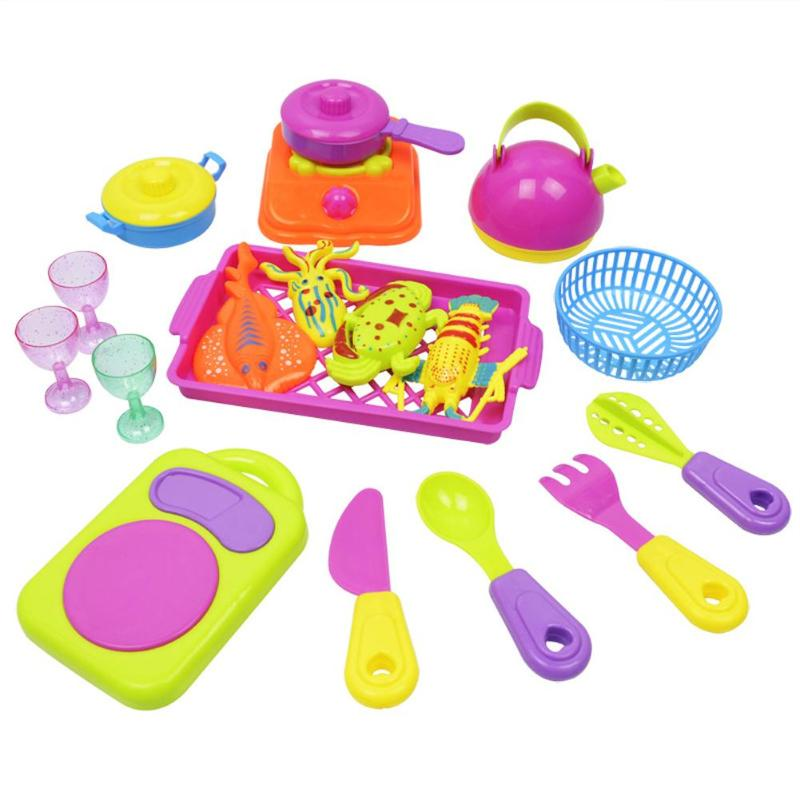 18 pcs/lot Kitchen Toy Set Plastic Cooking Food Pretend Play Kid Education Toys Bady educational Cookware pretend play Toys