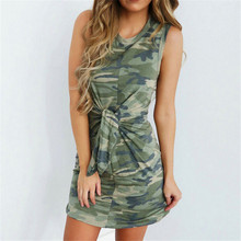f0348709adc6 Meihuida Sexy Sleeveless Camouflage Summer Pencil Women Printed Bodycon  Dresses Mini