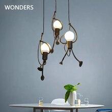 Lámpara colgante moderna para el hogar, colgador elegante de escalada para hombre pequeño, iluminación de arte interior, luz colgante