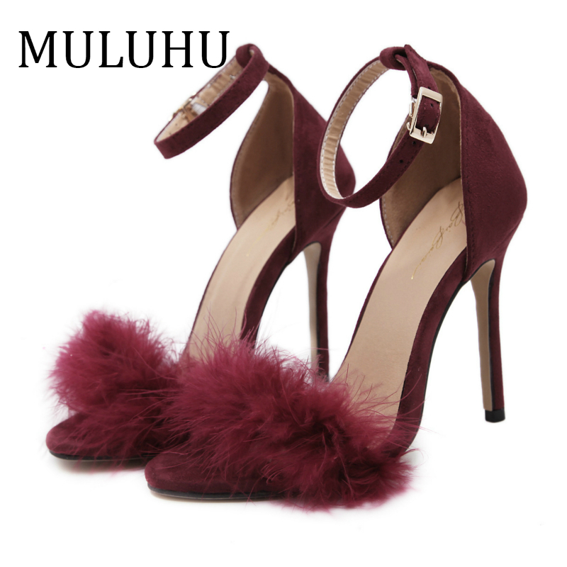 MULUHU Spring New Women's Shoes Dress High Thin Heel Fashion Elegant Buckle Strap Party Shoes Pointed Toe Sexy Shoes Single