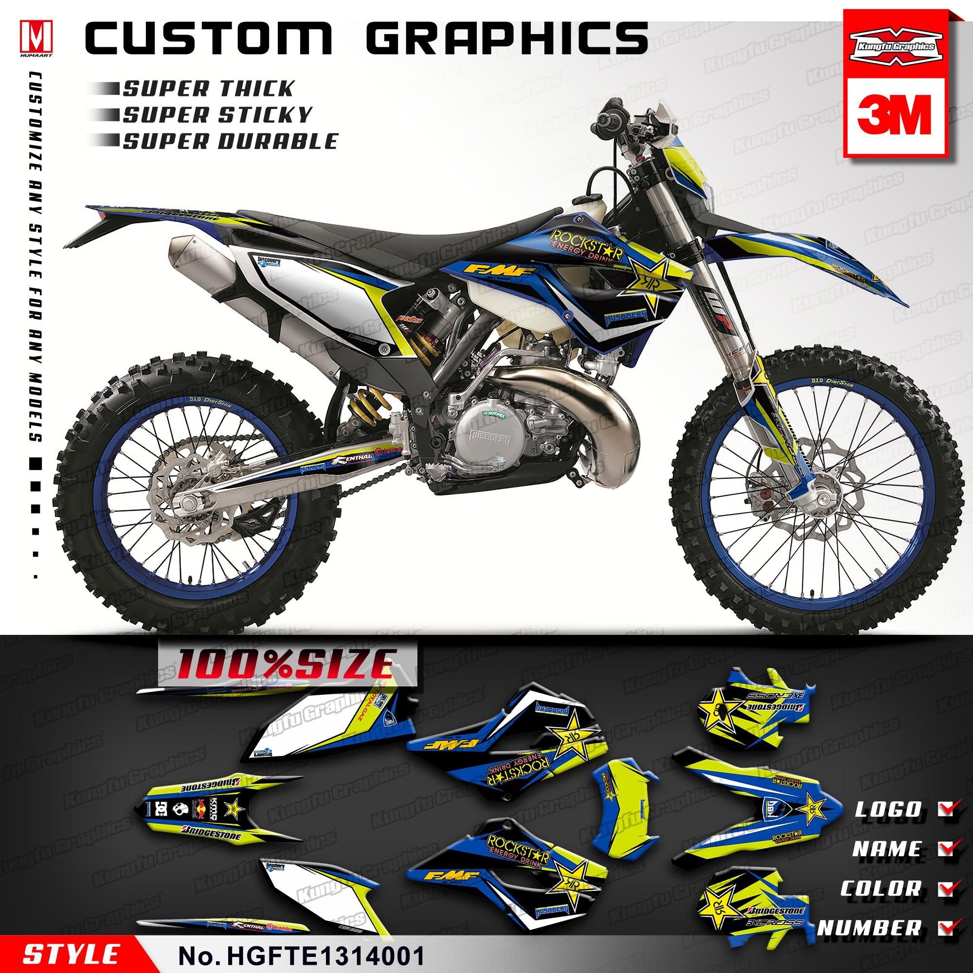 Grey Kungfu Graphics Custom Decal Kit for Husqvarna TE FE 125 250 300 350 450 501 2017 2018 2019