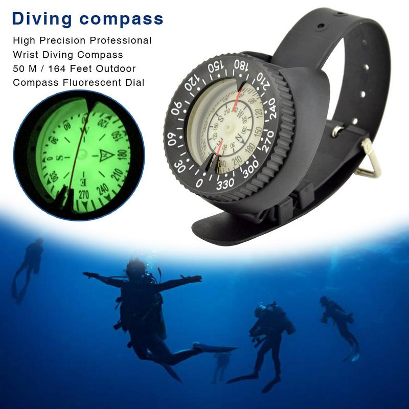 Mini Wristwatch Design Diving Compass Lightweight Portable Waterproof Plastic for Swimming Water Sports Accessory