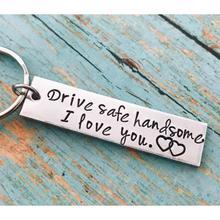 Stainless Steel Drive Safe Handsome I Love You Engraved Keychain Keyring Pendants Kits for Husband Boyfriend Gift Wedding Favor