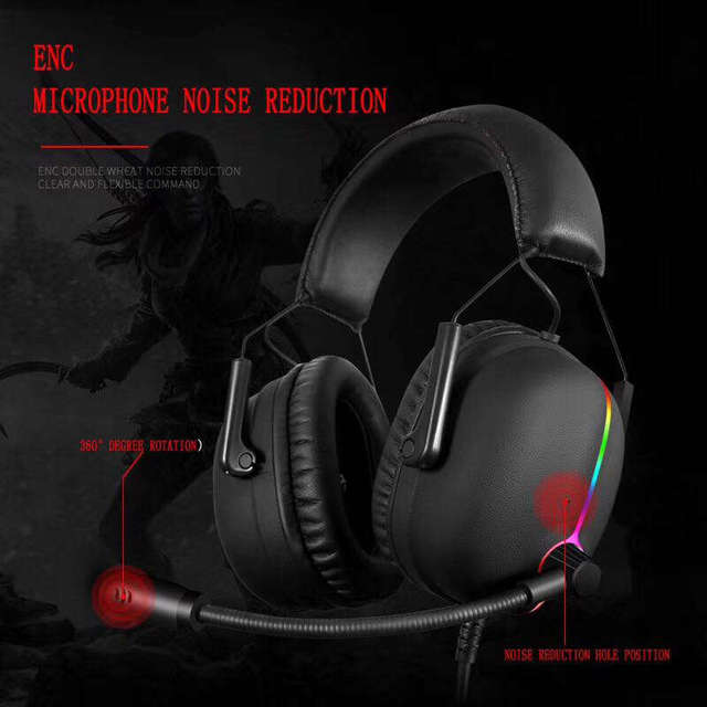 Gaming Headset Earphone Shock Bass High-End Luminous Electric Race 7.1 Audio Channel Wired Computer Headset 3