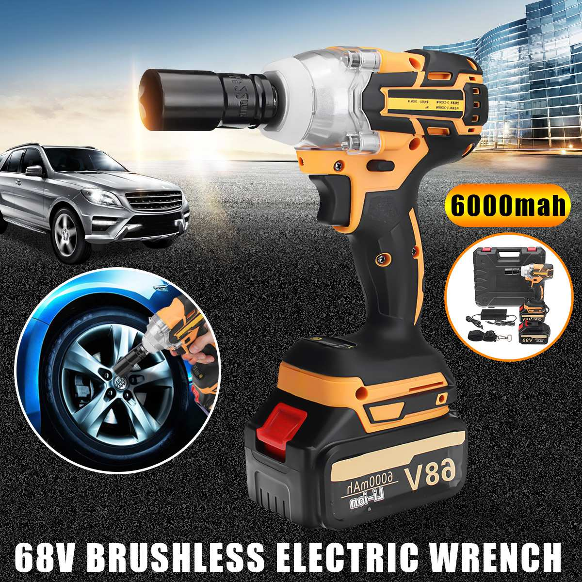 68V 6000mAh/8000mAh Brushless Cordless Electric Impact Socket Wrench Rechargeable Lithium Battery Home Car Electric Impact Drill tenwa20v brushless electric impact wrench cordless rechargeable lithium battery socket impact digital electric wrench