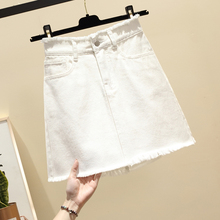 High Street Wear Blue Black White Casual Waist Mini Denim Skirt Spring Summer New Women A-line Pocket Jeans Plus Size