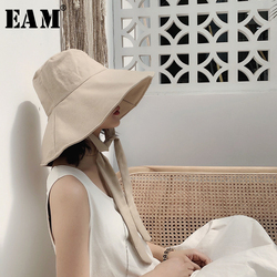 [EAM] 2021 New Spring Summer Round Dome Bandage Bow Big Foldable Temperament Fishermen Hat Women Fashion Tide All-match JS719