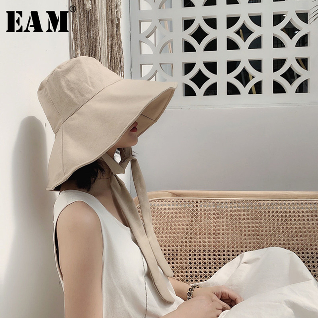 [EAM] 2020 New Spring Summer Round Dome Bandage Bow Big Foldable Temperament Fishermen Hat Women Fashion Tide All match JS719