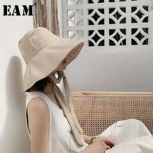 EAM chapeau de pêcheur femme, grand nœud Bandage rond, tempérament repliable, tendance printemps/été, assorti avec tout, JS719, 2020