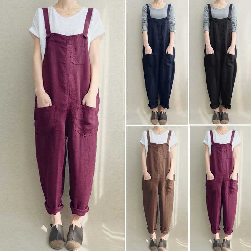 2020 Xnxee Summer Women Strappy Pockets Casual Solid Dungarees Cotton Linen Long Jumpsuits Loose Bib Overalls Rompers Plus Size