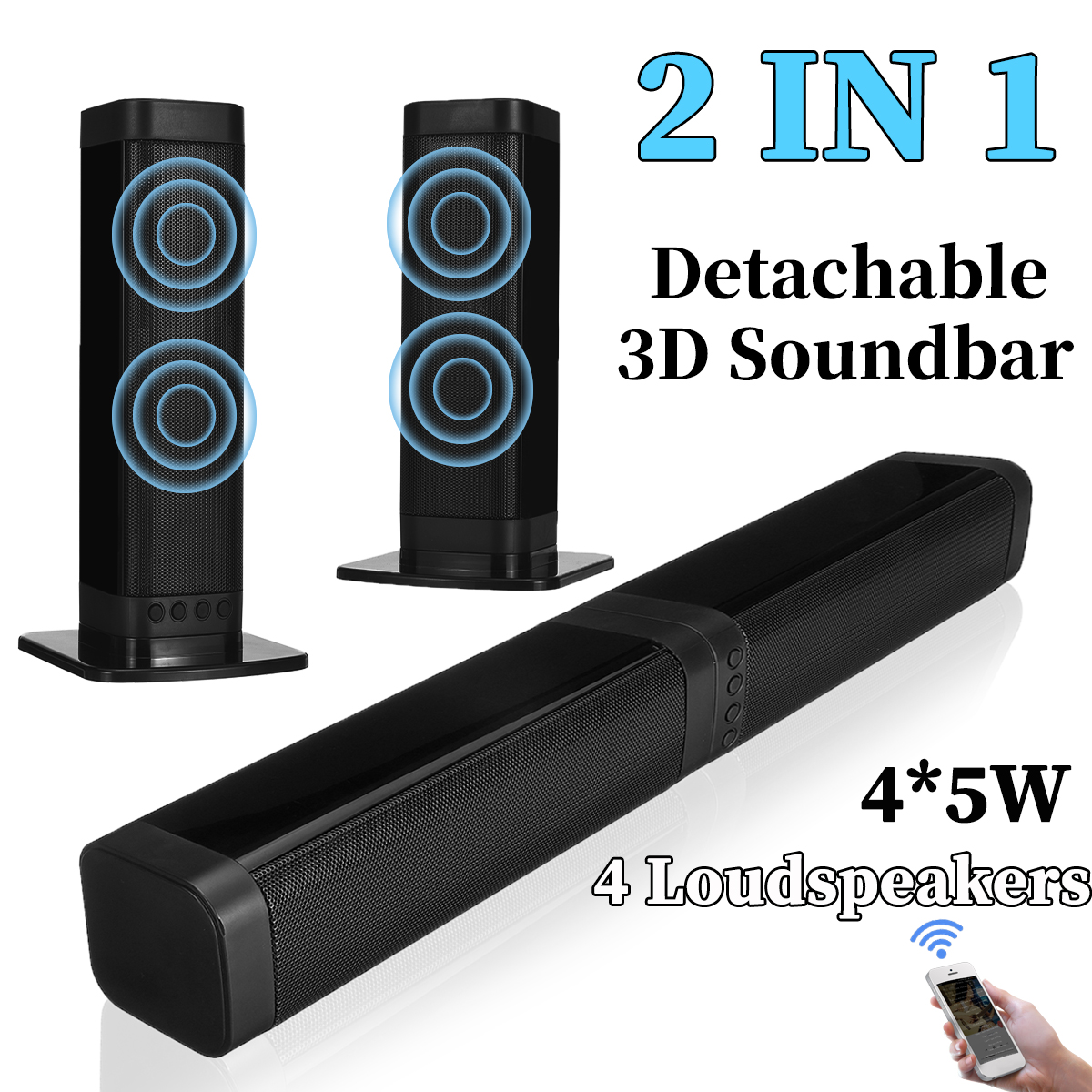 20w Detachable Soundbar Speakers Wireless Bluetooth 5 0