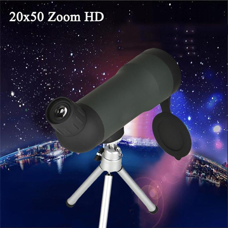 20 x 50 Waterproof Monocular Telescope Night Vision Optic Lens Spotting Scope With Retractable Tripod Stand for Camping Hiking