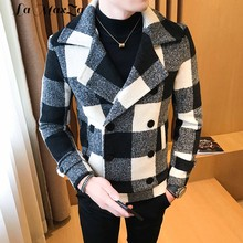 Casual Fashion Men Long Wool Coat Long Sleeve Turn Down Collar Winter Jacket Striped Cashmere Overcoat 2018(China)