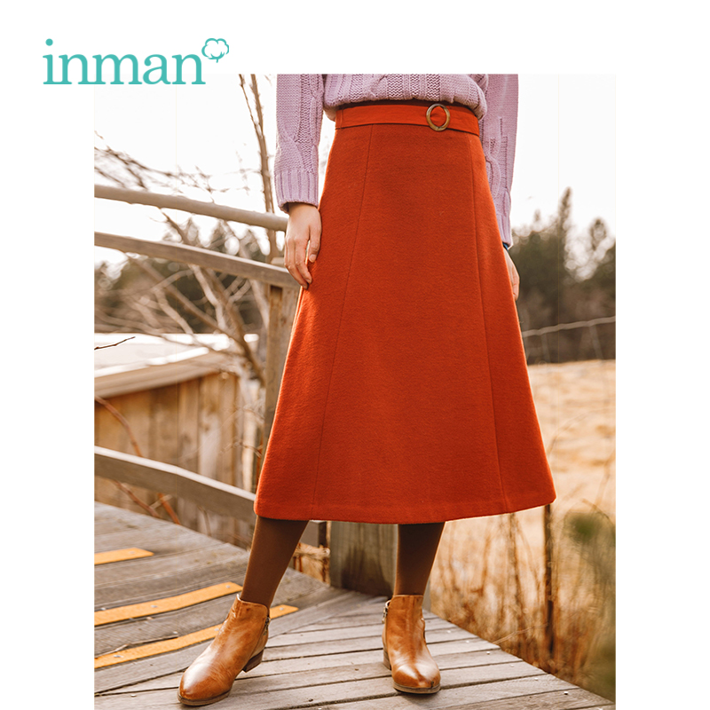 INMAN Winter New Arrival Retro Literary Waist Belt Wool A-skirt