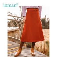 INMAN Winter New Arrival Retro Literary Waist Belt Wool A-skirt