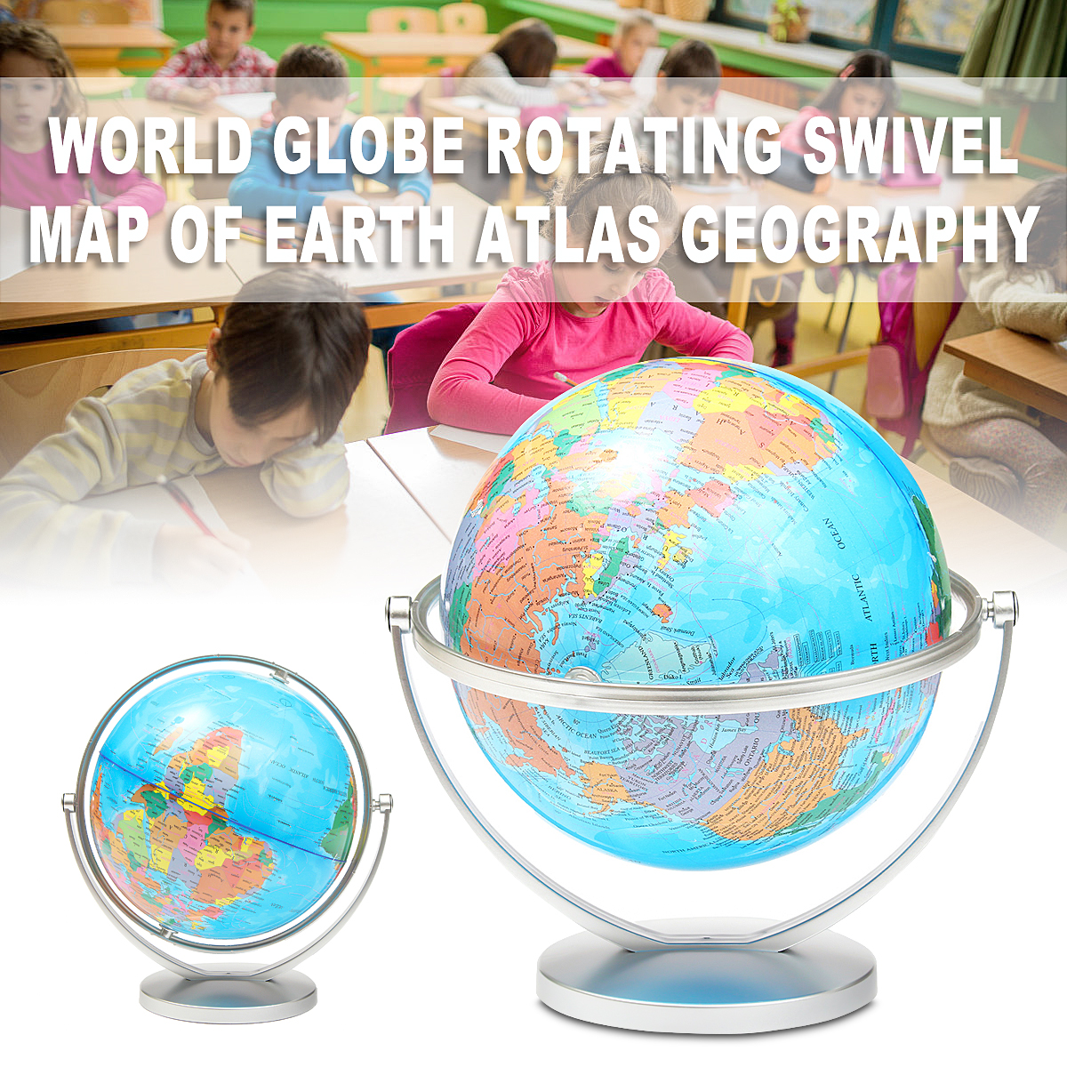 20cm 360 Degree Rotation World Globe Earth Map with Stand Kids Children Geography Educational Toys Home Office Decor Ornaments new led world map world globe rotating swivel map of earth geography globe figurines ornaments birthday gift home office decor