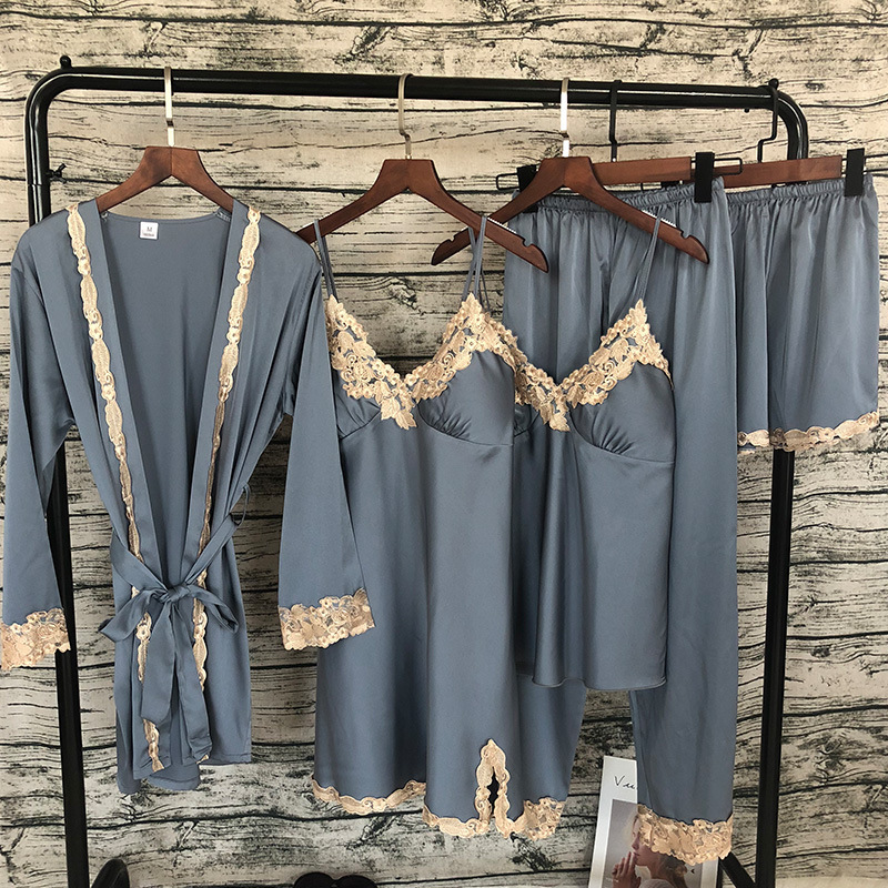 2019 New 5 PCS Lace Sexy Pajama Set  With Chest Pad Nightdress+Pant+Cardigan Set Sleepwear