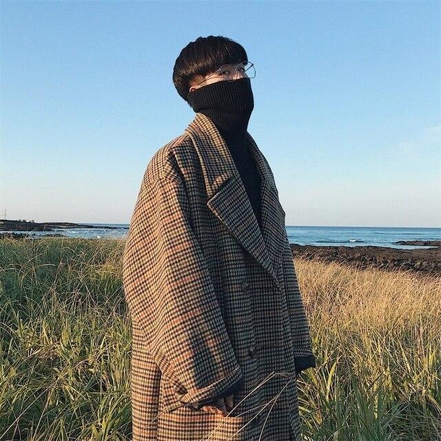 2018 мужские осенние и зимние модели корейской версии ультра-широкий отворот плед в длинном разделе пальто хаки M-XL