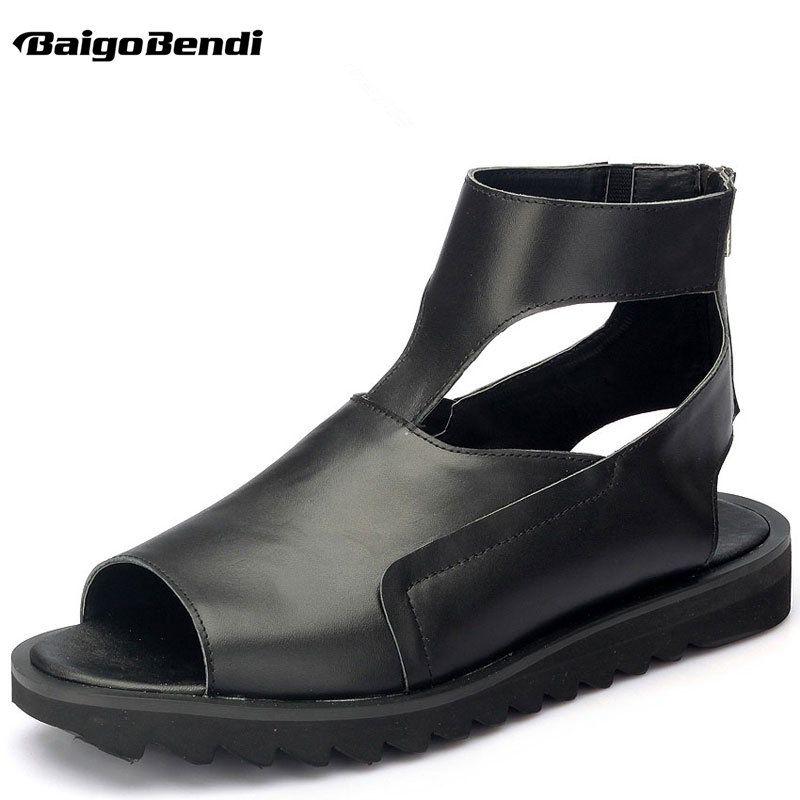 Man Rome Style Gladiator Fighter Sandals Genuine Leather Hight Cut Sandals Men Summer Zip Open Toe Thick Heel Shoes in Men 39 s Sandals from Shoes