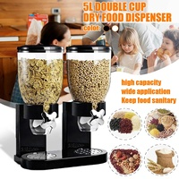5L Double Cup Dry Food Cereal Nuts Dispenser Household Kitchen Machine Food Storge Bottles Airtight Kitchen Storage Container