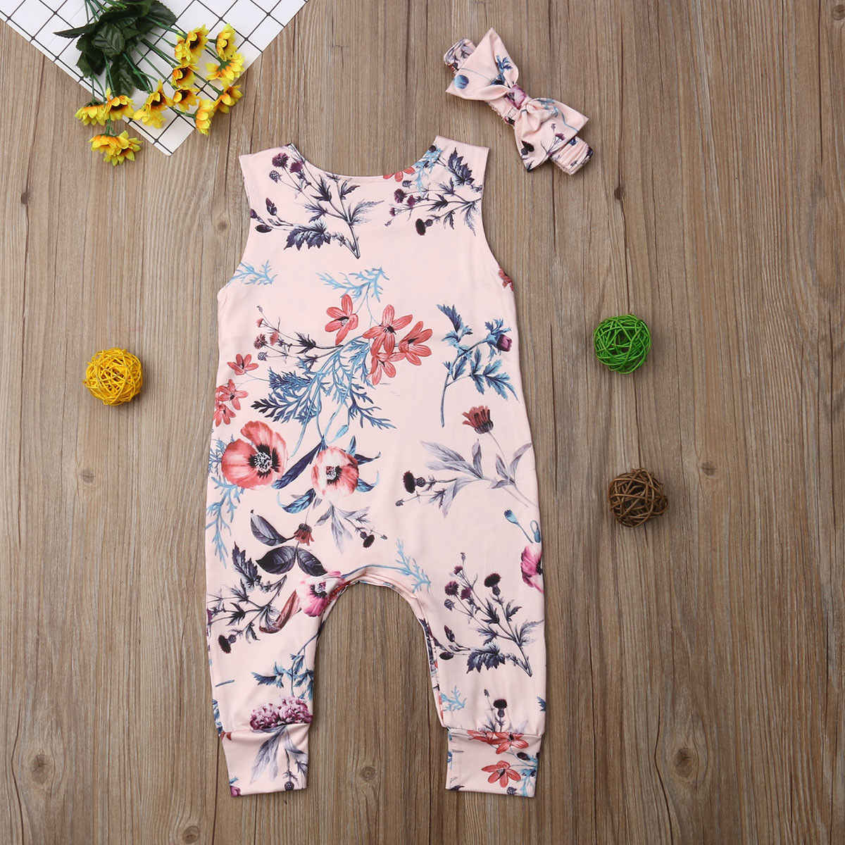 2019 UK Bayi Bayi Gadis Floral Bodysuit Jumpsuit Pakaian Pakaian Set Headband 1 Pcs Bodysuit Jumpsuit 0-24M bayi Baju Monyet