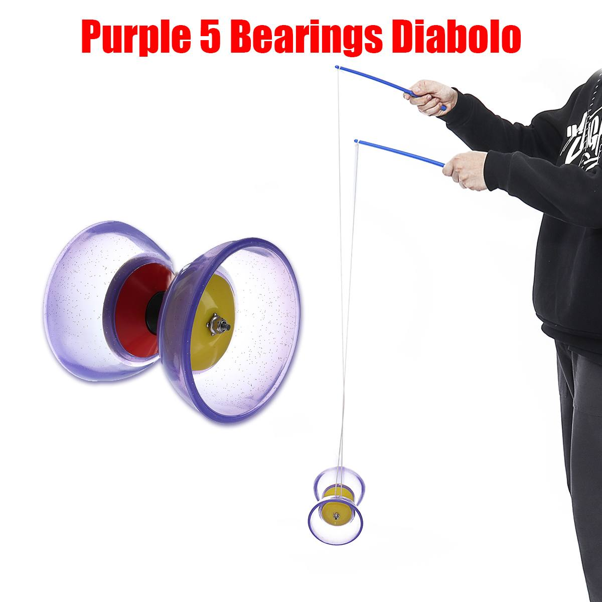 Plastic 5-Bearing Diabolo With Handsticks & String Juggling Toy for Professionals Beginners Children Adult YOYO Set Classic Toy