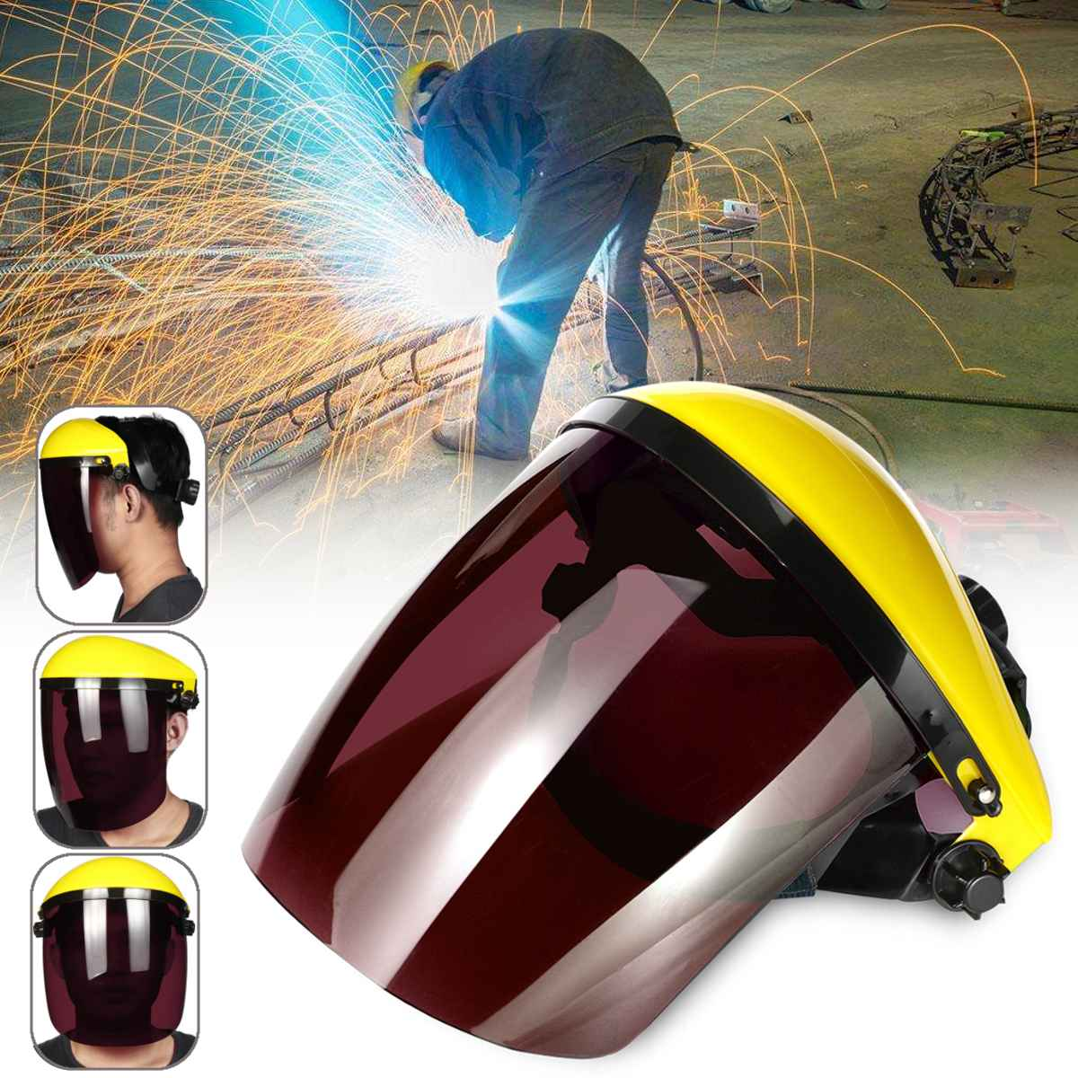 Viseira completa Proteção para Os Olhos de Segurança Workwear Ferramenta Ajustável Claro Rosto Escudo Máscara Protetora Viseira Flip-up Cinza/Preto /verde/Marrom