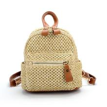Environmentally Friendly Materials Fashion Woven Mini Backpack Casual Straw School Travel For Women