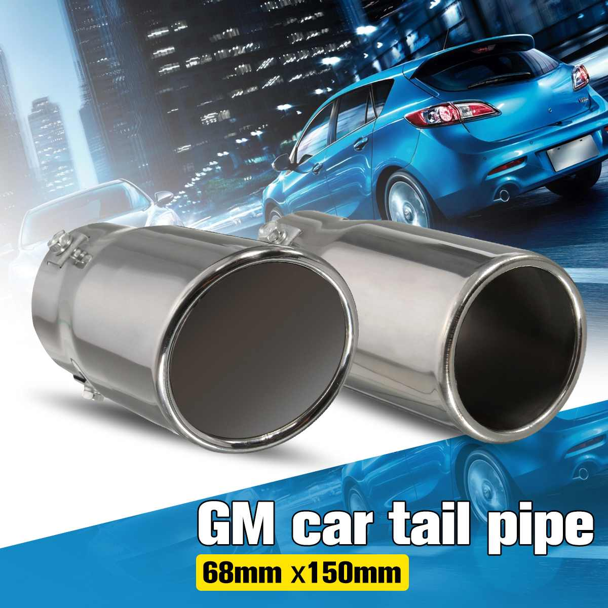 UNIVERSAL CHROME EXHAUST TAIL PIPE TRIM 50mm STRAIGHT