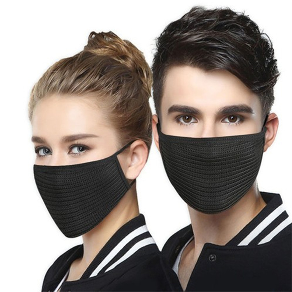 1Pc Stylish Autumn Winter Knitted Warm Mouth Masks For Women Men Solid Black Unisex Windproof Dust Face Mask For Cycling Outdoor