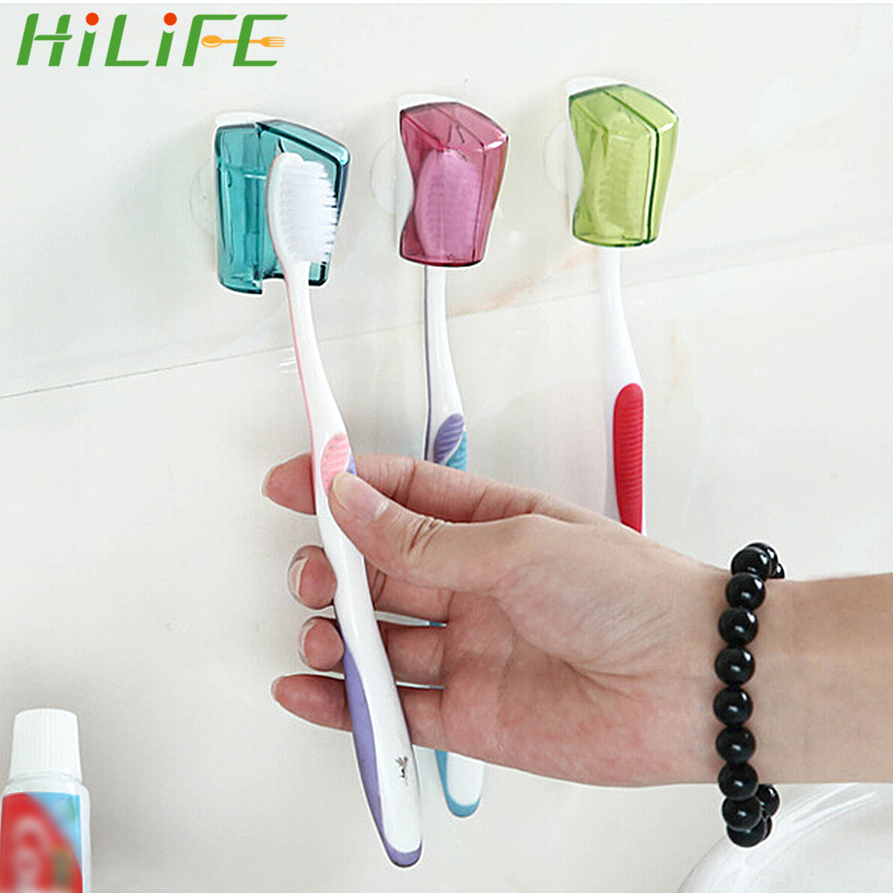 HILIFE Wall Mount Rack 3 Piece/Set Bathroom Product Suction Cup Toothbrush Holder Toothbrush Cover Storage image